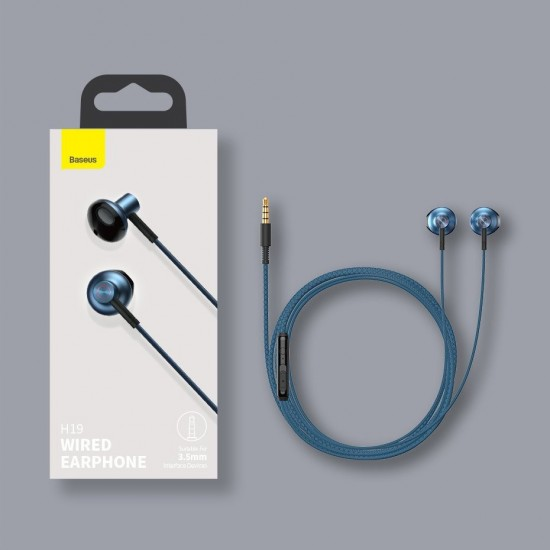 Baseus Encok H19 3,5 mm mini jack wired earphones with remote control and microphone blue (NGH19-01)