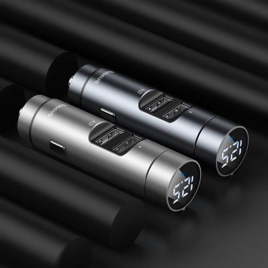 Baseus FM Transmitter Energy Column Car Wireless MP3 Charger Wireless 5.0+5V/3.1A (CCNLZ-0G) Dark grey