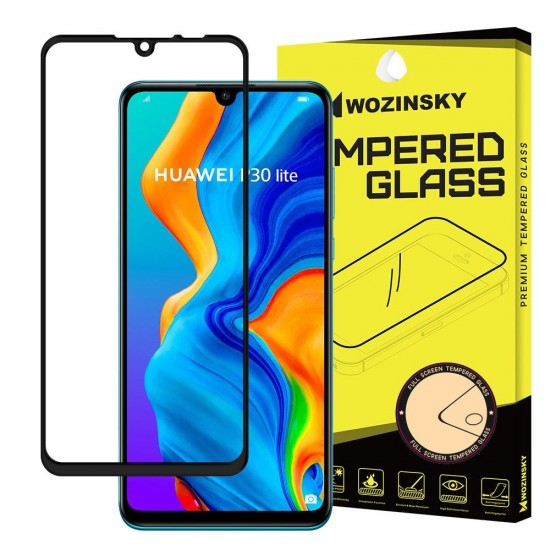 OEM Screen Protector - Wozinsky Tempered Glass Full Coverage Full Glue Case Friendly for Huawei P30 Lite black